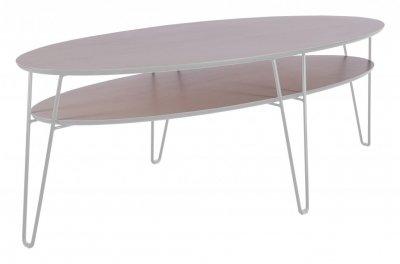 Nya Leon soffbord ellips,150*65cm ljus ek/vit | RUM1 RN-14