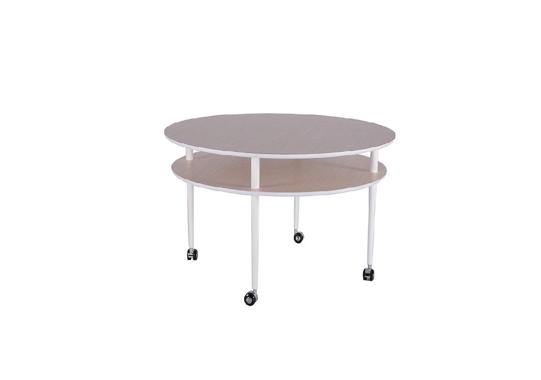 Splitter nya Casper soffbord med hjul runt ljus ek/vit 90*h50cm | RUM1 GF-29